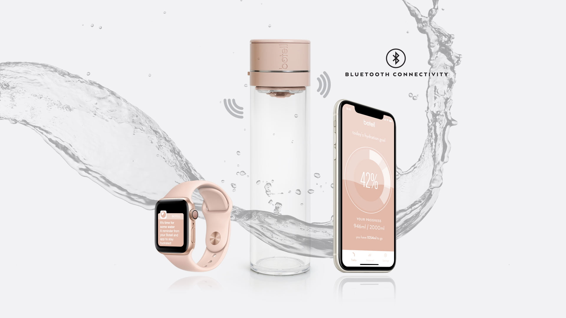 Botell smart water bottle app nude blush